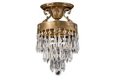 ($269) Ornate Semi-Flush Mount, Brass