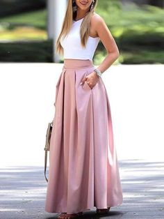 2 Piece set Summer fashion women elegant casual two-piece suit set Female sleeveless Cropped top & pleated maxi skirt sets, pink / XL Black Skirt Outfits, Pencil Skirt Outfits, Long Skirt Outfits For Summer, Long Skirt And Top, Crop Top Elegante, Midi Rock Outfit, Pleated Maxi, Long Maxi Skirts, Sleeveless Crop Top