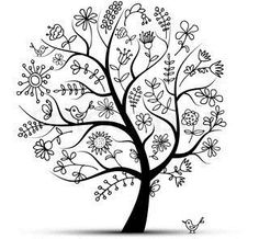 Folk art tree with bird- dont want a tree but like the floral designs