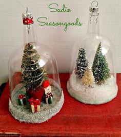 Plastic wine glass snow globes