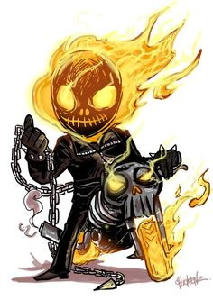 Little : Ghost rider by ChickenzPunk on DeviantArt Chibi Marvel, Marvel Art, Marvel Dc Comics, Marvel Heroes, Cartoon Kunst, Comic Kunst, Cartoon Art, Heros Comics, Bd Comics