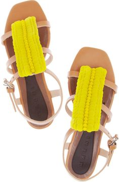 a1c05cfb1 Marni Paillette-embellished Leather Sandals in Brown Marni Sandals