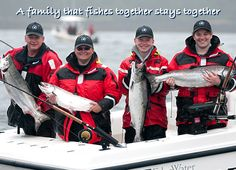 A family that fishes together stays together. Smiles and Chinook salmon across the board.