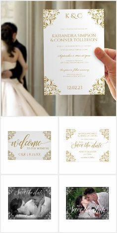 Nadine - Wedding Collection. This elegant wedding invitation template features a unique gold vintage corners design. #ad