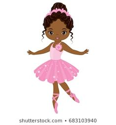 Illustration of Vector cute little African American ballerina dancing. Vector ballerina girl in pink tutu dress. African American ballerina vector illustration vector art, clipart and stock vectors. Ballerina Kunst, Black Ballerina, Ballerina Dancing, Little Ballerina, Ballerina Barbie, Black Girl Art, Black Women Art, Art Girl, Ballerina Silhouette