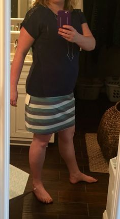 Side and shoulder lace detail.  Trisha Clover Charm necklace, silver, $32; Papermoon Dougall Lace Knit top, navy, $48, 41Hawthorne Iris A-line striped skirt, XL, $58. Skirt RETURNED. It's a little snug. July 2015 Stitch Fix #stitchfix