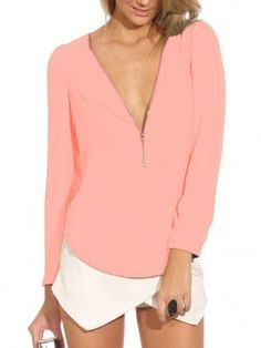 Pink Zipper Front Long Sleeve Chiffon Blouse