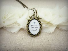 The Notebook - If You're A Bird, I'm A Bird Inspired Quote Pendant Necklace on Etsy, $15.95