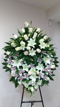 Idea Of Making Plant Pots At Home // Flower Pots From Cement Marbles // Home Decoration Ideas – Top Soop Funeral Floral Arrangements, Large Flower Arrangements, Dad Funeral Flowers, White Flowers, Beautiful Flowers, Flower Shop Decor, Casket Flowers, Funeral Caskets, Funeral Sprays