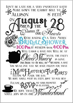 : wedding bridal shower invitation mad hatter tea party alice in wonderland Diy Invitations, Wedding Invitation Wording, Bridal Shower Invitations, Invitation Ideas, Disney Bridal Showers, Tea Party Bridal Shower, Shower Party, Baby Shower, Mad Hatter Party