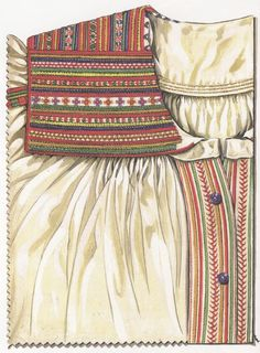 "Collar and front of a chemise of homespun linen. Embroidered in multicoloured cotton thread in cross, chain, back and buttonhole stitches. Early 20th cent. Piotrków in Lublin province. State Ethnographic Museum in Warsaw  (From ""Polish Folk Embroidery"" by Jadwiga Turska)"