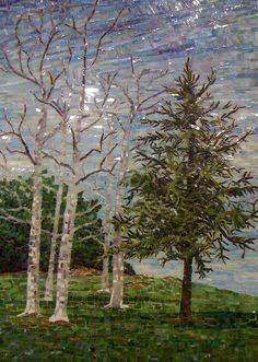 """""""ARROYO VERDE TREES, WINTER"""" by Larissa Strauss, Glass mosaic, 28"""" x 20,"""" 2011, Commissioned."""