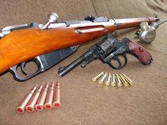 Mosin Nagant Rifle & Nagant Pistol.