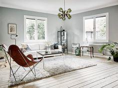 10 Scandinavian style interiors ideas - Decoration For Home Scandinavian Style, Scandinavian Interior Design, Estilo Interior, Diy Interior, Light Wooden Floor, Light Green Walls, Living Room Green, Grey Walls, Minimalist Home