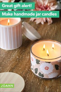 How To Make Patterned Candle Jars Empty Candle Jars, Mason Jar Candles, Diy Candles, Diy Candle Ideas, Scented Candles, Candle Store, Painted Jars, Candle Making, Homemade Gifts