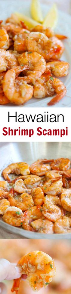 Super buttery and garlicky Hawaiian Shrimp Scampi, totally legit copycat famous Giovanni's shrimp scampi. Bring Hawaii home with my super easy recipe. Fish Recipes, Seafood Recipes, Great Recipes, Cooking Recipes, Favorite Recipes, Shrimp Dishes, Fish Dishes, Le Diner, Love Food