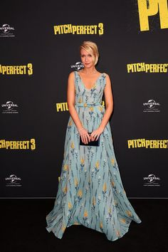 Anna Camp Embroidered Dress - Anna Camp was a breath of fresh air in a floral-embroidered blue gown by Luisa Beccaria at the Australian premiere of 'Pitch Perfect 3.'