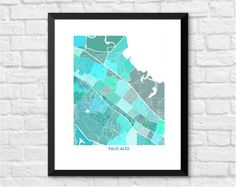 Palo Alto California Art Map Print.  Choose your color by Juanitas