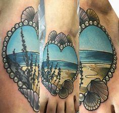 Beach scene tattoo by Charlotte Timmons