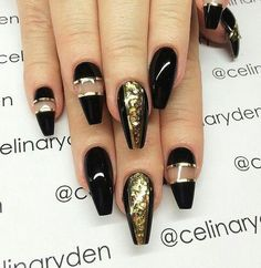 Diy halloween nails diy halloween nail art gel nails diy coffin shaped nails negative space gold striping tape gold glitter black and gold nail art from celinaryden prinsesfo Image collections