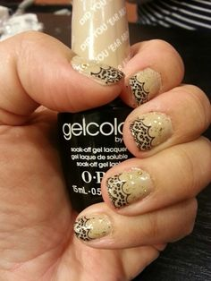 Lace Gel Nail  polish by Tammie Smith at Serenity Spa in Richlands.  Perfect elegance for a formal evening.