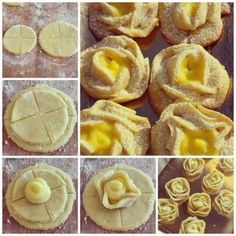 dough roses with pastry cream centers beautiful pics Bakery Recipes, Cookie Recipes, Dessert Recipes, Pastry Design, Bread Shaping, Bread And Pastries, Food Decoration, Mini Desserts, Creative Food