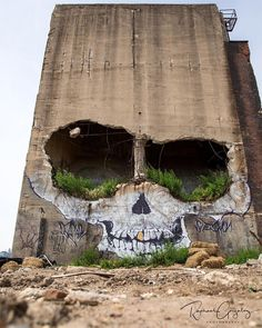 A Crumbling Building in Greenpoint Now Features a Ghoulish Skull by Suitswon | Colossal | Graffiti artist Greg Suits (aka Suitswon) completely nailed the placement of this skull mural in New York's Greenpoint neighborhood, the giant holes work perfectly as enormous eye sockets.