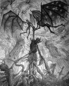 'The Infernal Metaphor for an Apathetic Existence' (cropped) by ColourBlindPencil (Sergei Zolotov) Gravure Illustration, Illustration Art, Arte Black, Dark Art Illustrations, Satanic Art, Evil Art, Dark Artwork, Demon Art, Scary Art