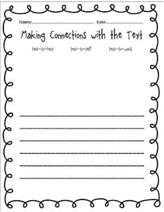 Making connections sheet for kids while reading | Classroom ...