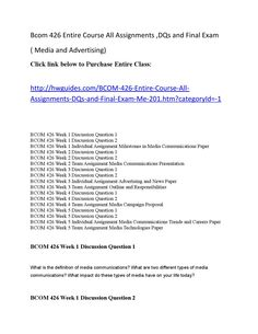 Bcom 426 complete course all assignments ,dqs and final exam