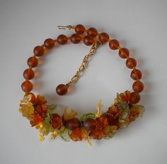 Vintage Autumn Glass Necklace European by eclecticappealjewels