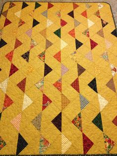 A Fall Palette 47 X 61 Flag Patterned Quilt by WrappingYouInWarmth - $143