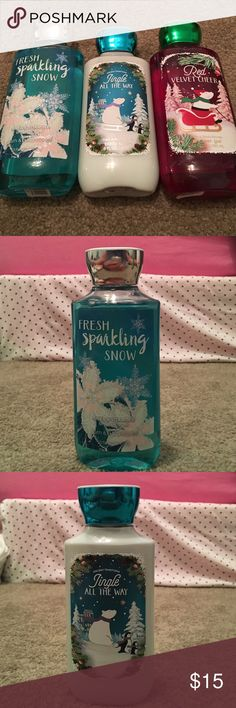 Bath and Body Works Winter Set- New Bath and Body Works New Shower Gels and Lotion. All scents from the Winter collection. 1x Red Velvet Cheer Shower Gel, 1x Fresh Sparkling Snow Shower Gel, and 1x Jingle All the Way Lotion. Bath and Body Works Makeup