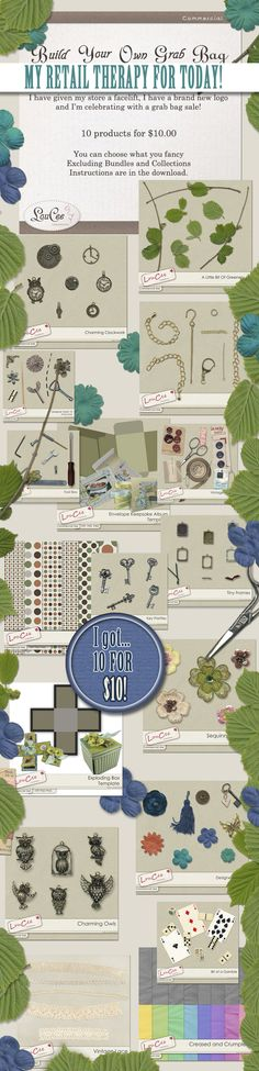 #LouCee Creations is having a #BYOGB to celebrate her store facelift at #SHC.  I got 10 items for $10.  Ok.  I got more than that but it's been a busy week and I needed some Retail Therapy.  Perfect timing for some vacation designing and scrapbooking.   http://www.sugarhillco.com/shop/Build-Your-Own-Grab-Bag/