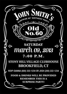 Jack Daniels Inspired Birthday Party Invitation - Personalized - PRINTABLE Digital File. $18.00, via Etsy.