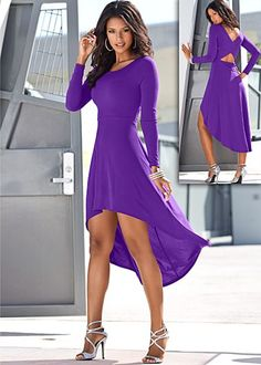 """High Low Hem Dress $46 Your feminine heart will belong to fall when you get caught looking this hot! · Criss cross double layered back · Lined at top · 18"""" in length from natural waist at shortest point · Shell: Poly/spandex; lining: poly · Made in USA"""