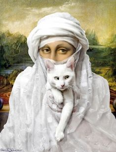 Mona Lisa with a White Cat