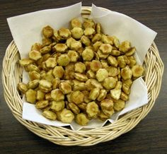 """MANNA!  Supplies: Oyster crackers, margarine, honey --    Preparations: Mix 1/4 cup honey with 1/4 cup margarine and heat until it bubbles. Pour over oyster crackers in a large bowl and toss gently to coat crackers lightly. Let dry. You have """"honey wafers""""—manna substitute."""
