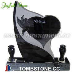 Black granite headstone with vases, heart and dove Cemetery Headstones, Cemetery Art, Headstone Ideas, Tombstone Designs, Grave Monuments, Famous Tombstones, Memorial Garden Stones, Black Granite, Grave Memorials