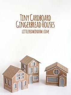 Tiny Cardboard Gingerbread Houses | littleredwindow.com