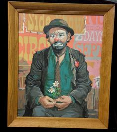Vintage EMMETT KELLY Framed PAINT BY NUMBER Sad Hobo Clown PBN The Entertainers #PaintbyNumber