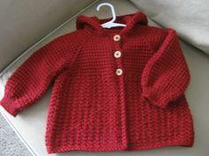 Chrochet Девочка свитер с капюшоном темно-красный с ForBabyCreations