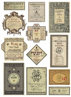 This limited edition Harry Potter graphic art print features a selection of potion labels comes from the Apothecarium of Professor Horace E. Slughorn, featured in the sixth film Harry Potter and the Order of the Phoenix. Harry Potter Halloween, Harry Potter Diy, Deco Noel Harry Potter, Harry Potter Potion Labels, Harry Potter Navidad, Harry Potter Fiesta, Harry Potter Weihnachten, Harry Potter Thema, Harry Potter Classroom