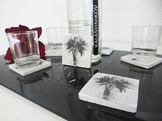 """Lot de 6 dessous de verre """"Joséphine Baker"""" en bois brut peint - couleur blanc, gris, noir : Cuisine et service de table par k-ro-design"""