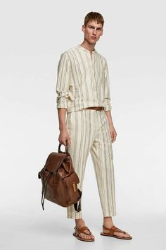 Zara Men, Nouvelle Collection Zara, Mode Zara, Mocassins Cuir, Welt Pocket, Men's Collection, Costume, Striped Pants, Workout Pants