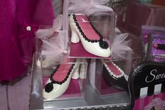 Glam Party Favors.  Chocolate shoes with pink luster sheet insole and decogel trim.