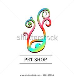 Pet-Shop Icon Design 02. colorful Animals icons with  text. vector illustration