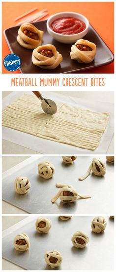 The fun and creepy appetizer to serve at your Halloween party! These meatball mummy bites are the perfect kid-size appetizer. Great to serve at your next Halloween party! Halloween Snacks Vegan, Entree Halloween, Soirée Halloween, Hallowen Food, Halloween Goodies, Halloween Food For Party, Halloween Treats, Halloween Food Recipes, Halloween Appetizers For Adults
