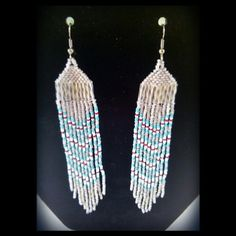Native American White Multi Colored Beaded Earrings