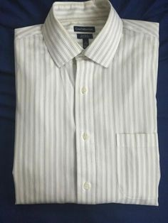 020dd02d Croft and Barrow White Striped Men s Dress Shirt Size 16 32/33 Long Sleeve